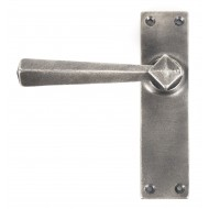 Straight Lever Handles Latch Backplate Antique Pewter