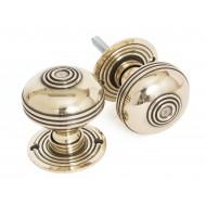 Aged Brass Half Reeded Door Knobs