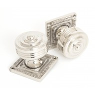 Polished Nickel Mortice Door Knobs On Square Rose