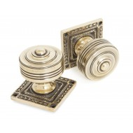 Aged Brass Mortice Door Knobs On Square Rose