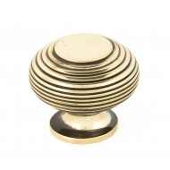 Reeded Cupboard Knob Aged Brass