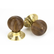Rosewood Beehive Mortice or Rim Door Knobs On Brass Rose