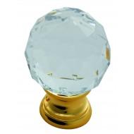 crystal and brass cupboard knob