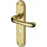 Luna Lever Handles on Backplate in Polished Brass