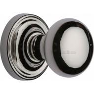 Hampstead Bun Door Knobs in Polished Nickel