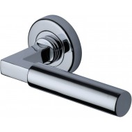 Bauhaus Lever Handles on Rose in Polished Chrome