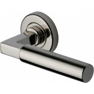 Bauhaus Lever Handles on Rose in Polished Nickel