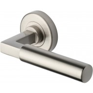 Bauhaus Lever Handles on Rose in Satin Nickel
