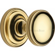 Whitehall Half Reeded Door Knobs in Polished Brass