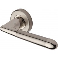 Turin Modern Lever Handles on Rose in Polished Dual Nickel