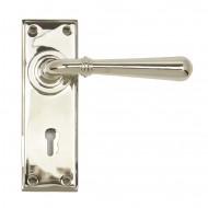 Anvil Regency Nickel Newbury Lever Handles Key Backplate