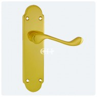 oakley lever on latch polished brass
