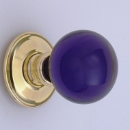 Amethyst Purple Glass Ball Door Knobs. Various Rose Finishes