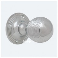 Reeded Door Knob In Polished Chrome