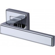 Linear Lever Handles on Square Rose in Polished Chrome