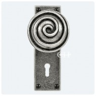 Finesse Design Pewter Swirl Knobs on Keyhole Backplate