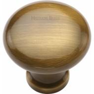 Victorian Round Cabinet Knobs Antique Brass
