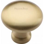 Victorian Round Cabinet Knobs Satin Brass