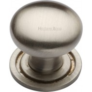 Victorian Round Cabinet Knobs On Rose Satin Nickel